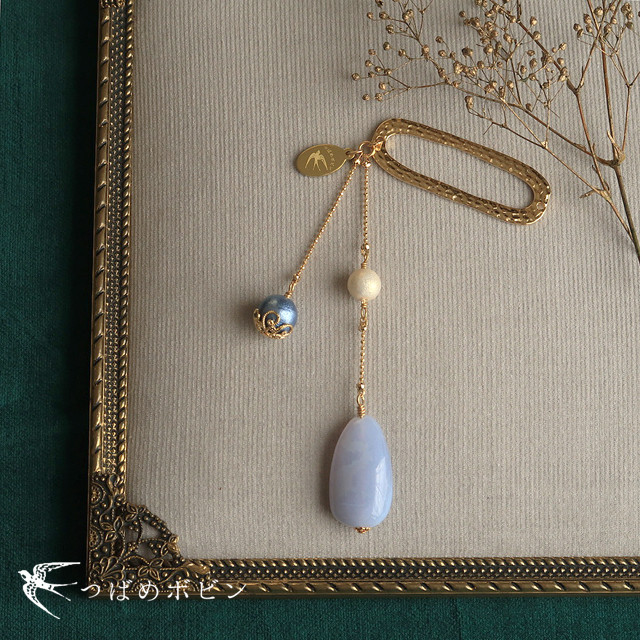 天然石とパールの帯飾り《ブルーカルセドニー/A》