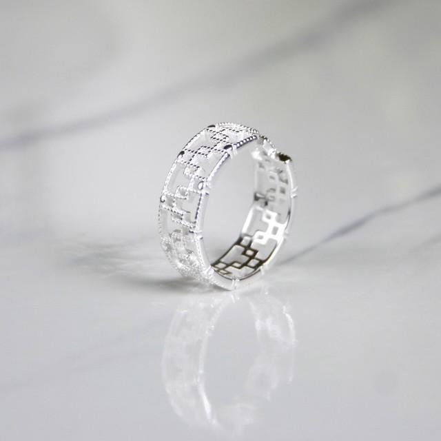 スクエアパターンスリング | 指輪 | シルバー925 | レディース | 金属アレルギー