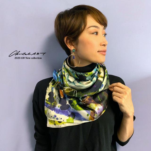 ◆即納◆アートペイントパンダ 大判シルクスカーフ