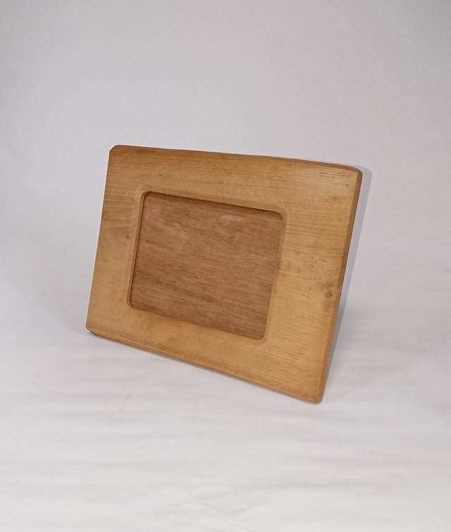 【送料無料】素朴な味わいの木製フォトフレーム 2L判・キャビネサイズ 柿渋塗り【1点もの】