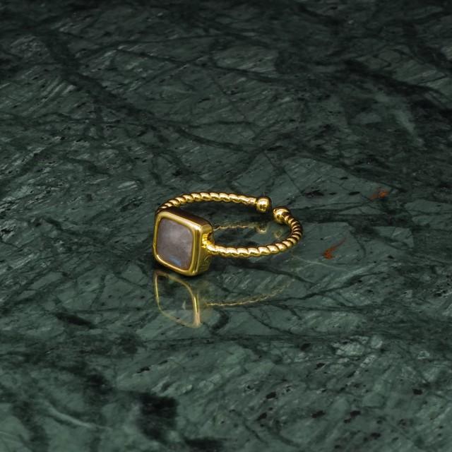 SINGLE MINI STONE RING GOLD 010