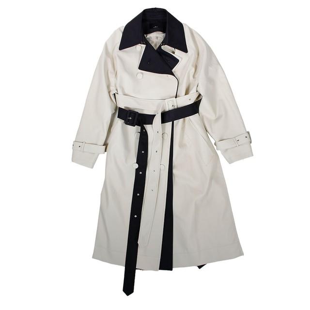 J KOO Fake Leather Trench Coat