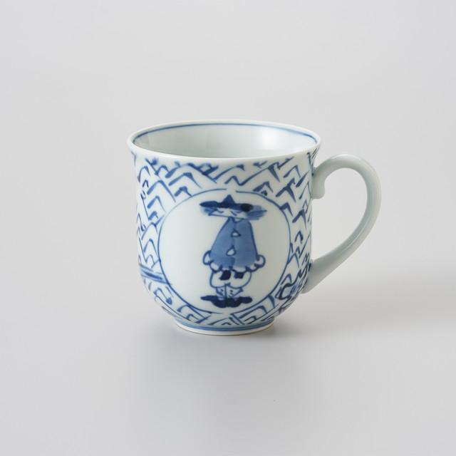 【青花】荒波丸紋異人 反マグカップ