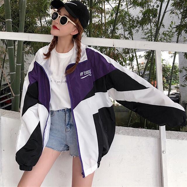 【アウター】春の新作ストリート系配色ゆったりジッパージャケット27358192