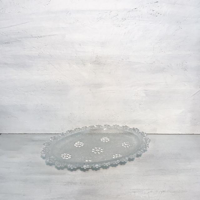【R-555】レトロ水玉花ガラストレイ皿