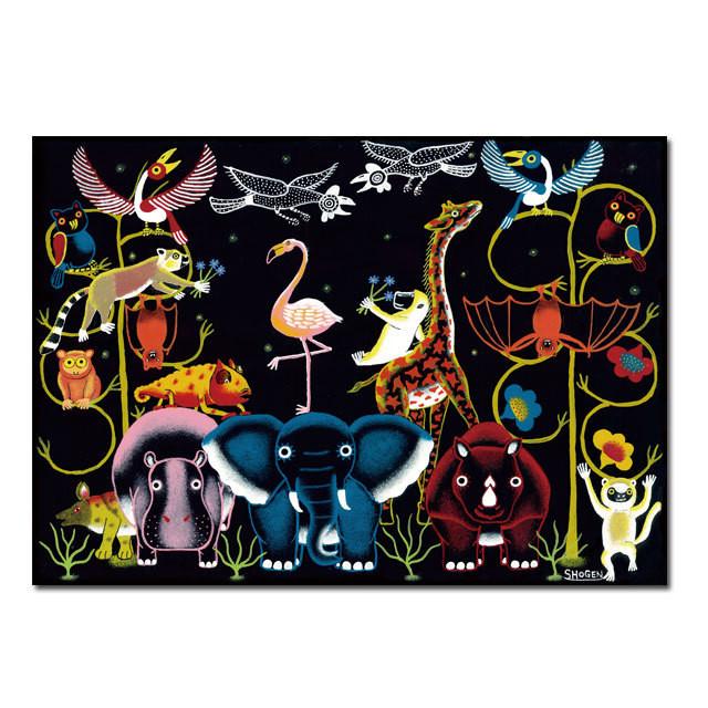 フラミンゴを祝福する動物達」ポストカード | SHOGEN【OFFICIAL SHOP】