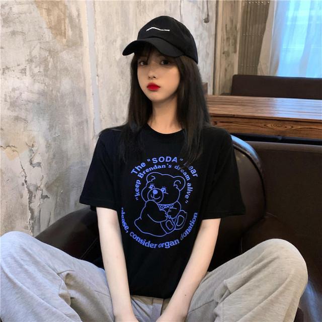 【送料無料】BearプリントTシャツ♡Tシャツ ゆったり プリント カジュアル ルームウエア 着まわし お家コーデ