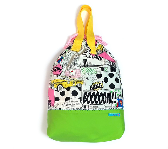 大きな巾着袋 体操袋・給食袋×コミック柄MIX-両ひも・持ち手付き 入園グッズ 入学準備