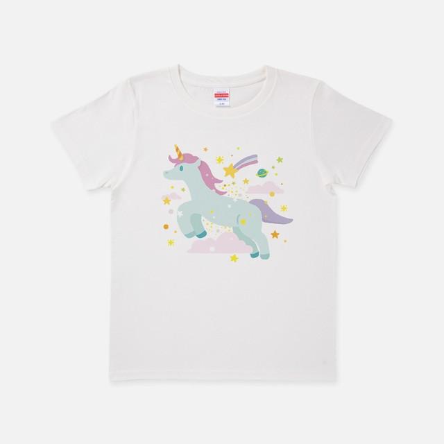 Tシャツ[URAMABUTA]ユニコーン バニラホワイト色