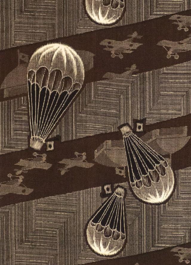 気球と飛行機 木綿 仕立て上り名古屋帯