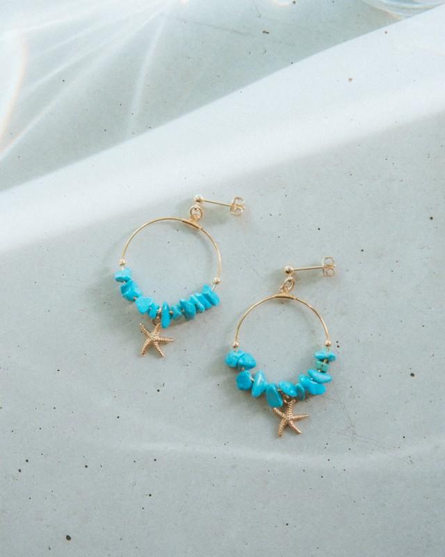 Hoop starfish #turquoise