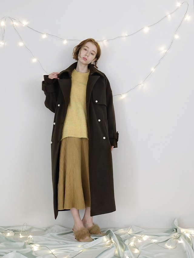 back fastener wool trench(olive)