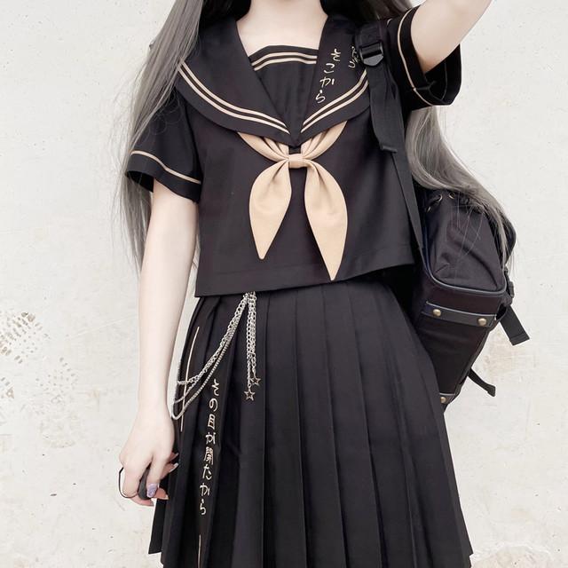【木子醬シリーズ】★セットアップ ★ 2color トップス+スカート セーラー服 JK風 2点セット 半袖