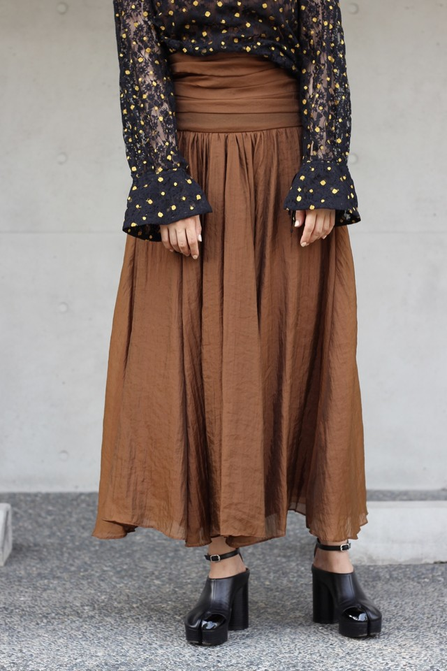【eicayoshinari】silk organdy maxi skirt-brown