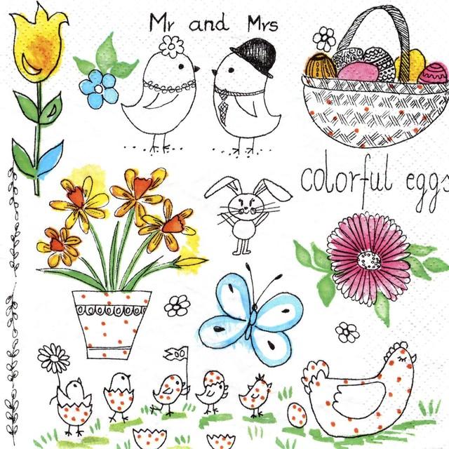 入荷しました|2020春夏【Daisy】バラ売り2枚 ランチサイズ ペーパーナプキン Very Happy Easter! ホワイト