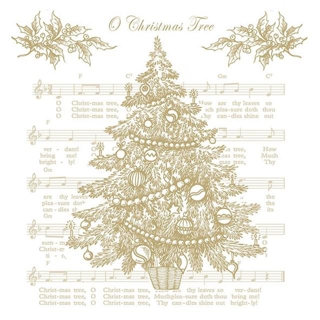 【Ambiente】バラ売り2枚 ランチサイズ ペーパーナプキン O CHRISTMAS TREE ゴールド