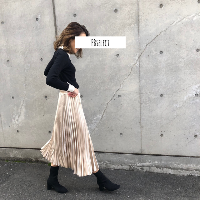 ◆予約◆satin pleats skirt
