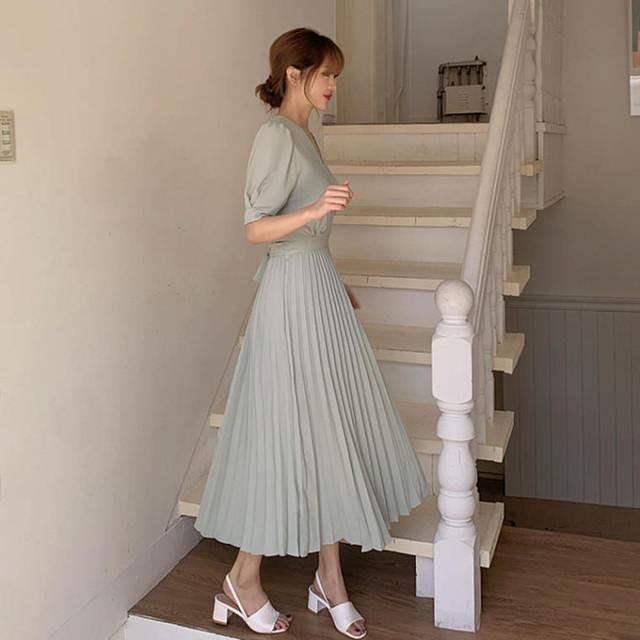 【送料無料】 モテワンピ♡ フェミニン Vネック カシュクール バックリボン プリーツスカート ロング ワンピース