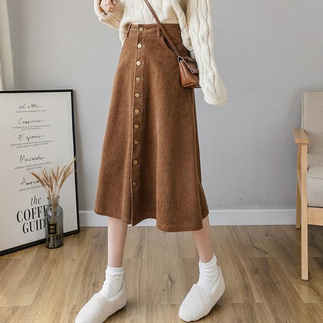 秋冬スカート コールテン ロングスカート  SHQ361601
