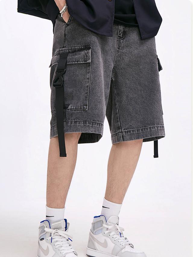 【即日出荷】バックル付ブラックデニムハーフパンツ ジーンズ シンプル ストリート メンズ