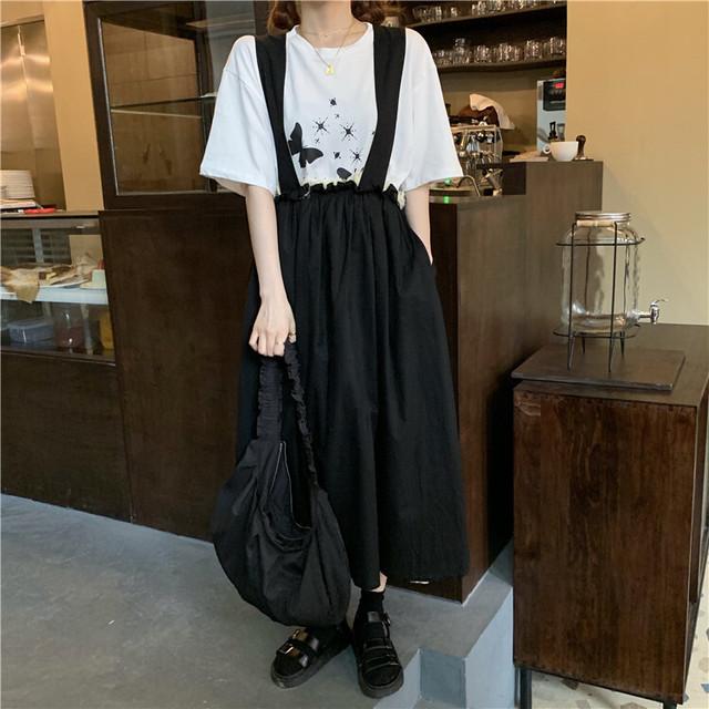 ジャンパースカート ストラップスカート 韓国ファッション レディース スカート カジュアル シンプル サスペンダー ガーリー / Casual loose strap skirt (DTC-616576322037)