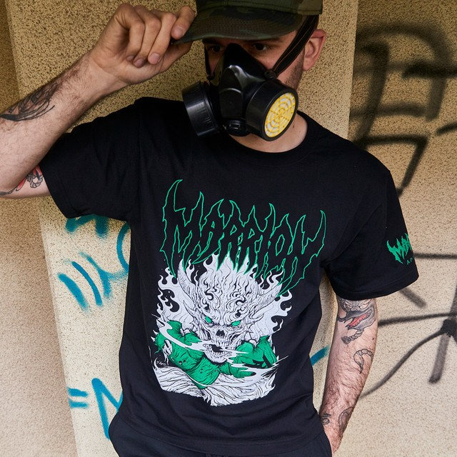 【Cotton100%】SKULL PUNCH TEE (Black×Green)