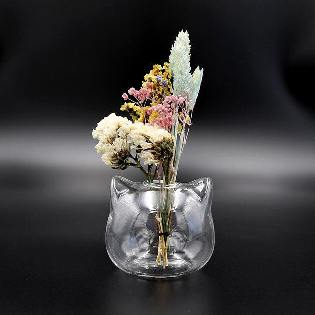 猫花瓶(キャットガラス花瓶ミニ一輪挿し)