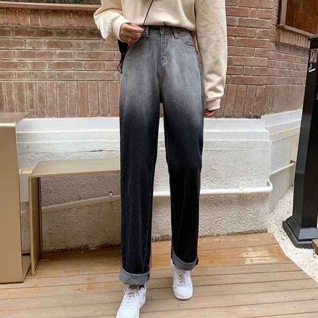 【ボトムス】超人気美脚!韓国系 ファッション ハイウエスト レギュラー丈 切り替え ジーンズ38203352