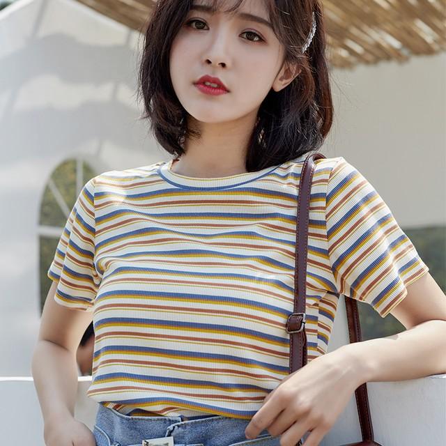 【tops】配色ストライプ柄4色ボーダープルオーバーラウンドネック半袖Tシャツ