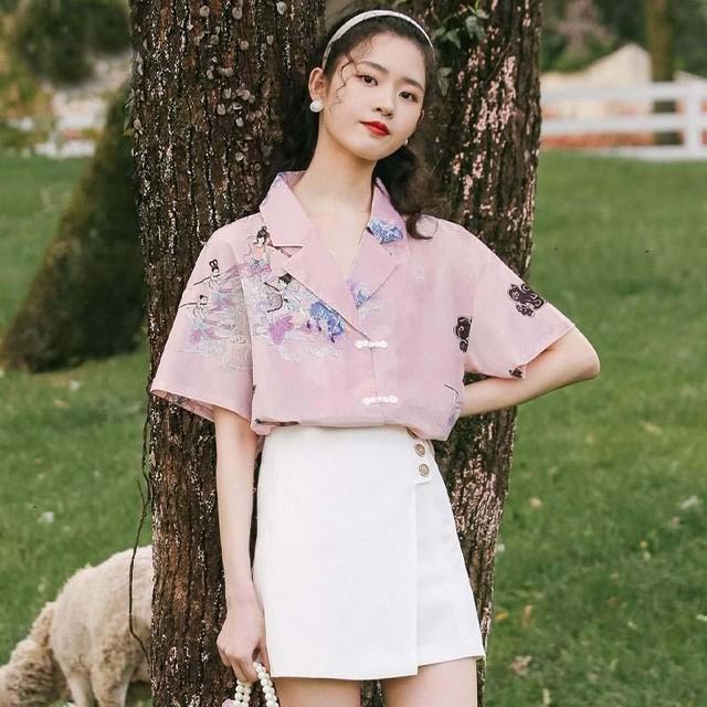 チャイナ風服 トップス シャツ POLOネック 折り襟 プリント  S M L ピンク 花柄 可愛いボタン