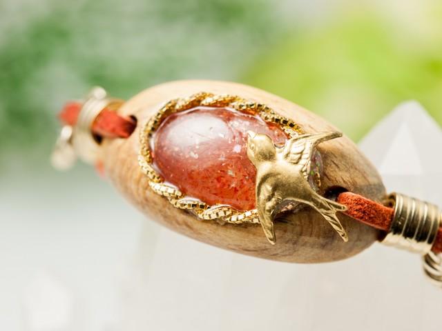 【赤い果実と小鳥のブレス】サンストーン×屋久杉/B144-1