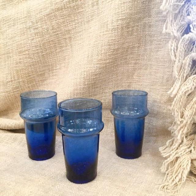 モロッコ ミントティーグラス ブルー