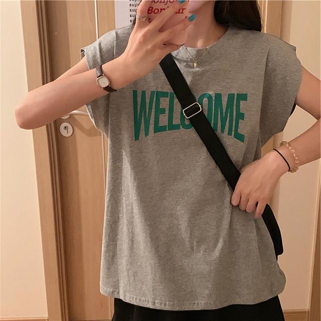フロントロゴプリント・ノースリーブTシャツ