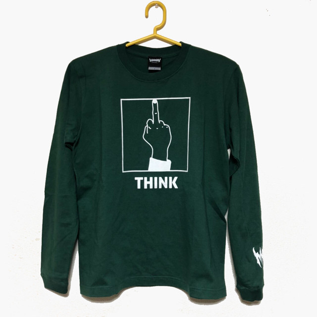 「THINK」 Long Sleeve Tee (Ivy Green×White)