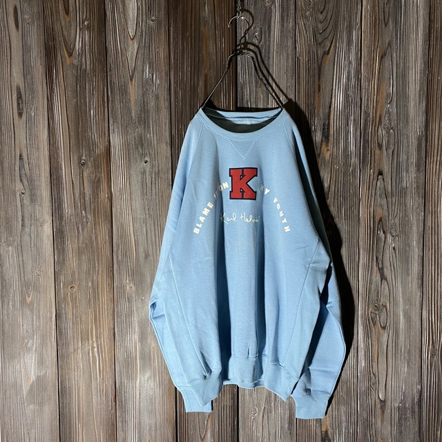 [Karl Helmet]cute baseball patch light blue  sweat