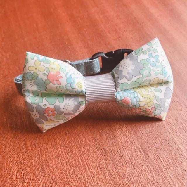 猫 首輪 リボン首輪 BIGリボン グリーン 花柄 ぷっくりリボン