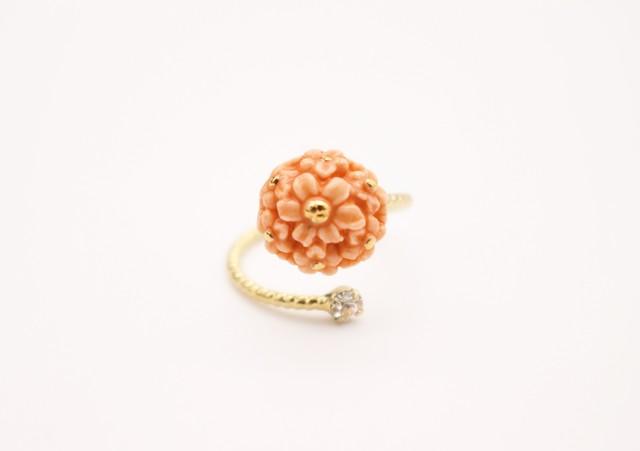 リング flower  オレンジ