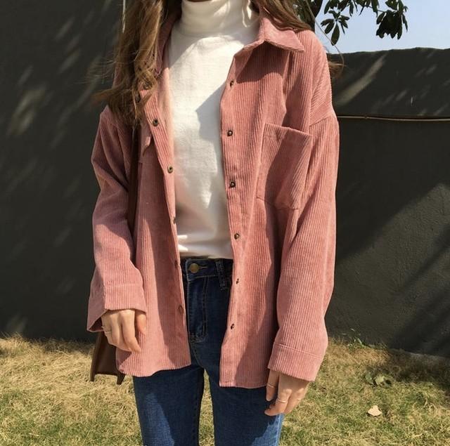 コーデュロイ素材 レトロ シャツ シンプル 2色 B2850