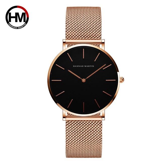 36ミリメートルニューグリーン顔ゴールドダイヤル日本クォーツムーブメントレディース腕時計ステンレス鋼メッシュ超薄型防水女性の腕時計CH36-WFF
