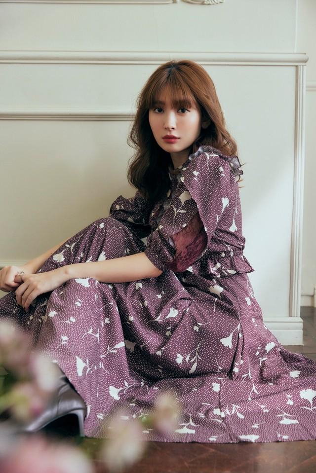 Autumn Floral Lace Trimmed Dress