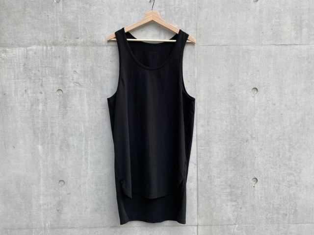 greatLAnd LAYERED LONG TANK TOP BLACK