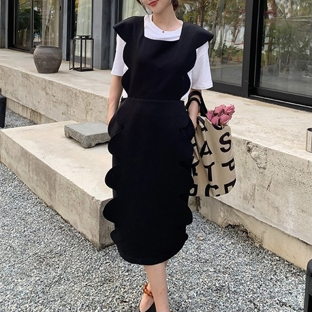 big frill french square neck dress