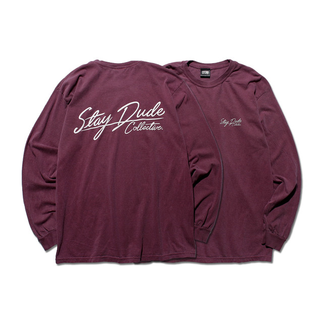 【STAY DUDE COLLECTIVE】Calligraphy Logo Garment Dyed LS Tee 2021 (BERRY)