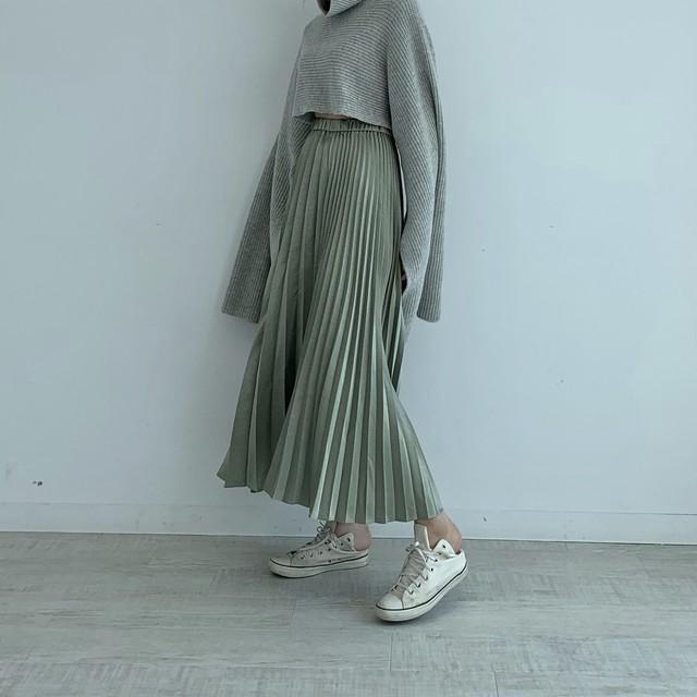 shiny pleats skirt / pistachio(即納)