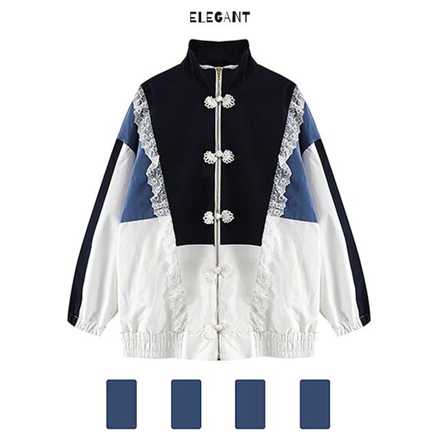 チャイナ風アウター トップス 配色 ブルー ホワイト 長袖 中華服 S M L 合わせやすい ゆったり