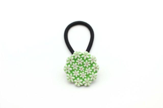 有田焼ヘアゴム flower 28 (黄緑)
