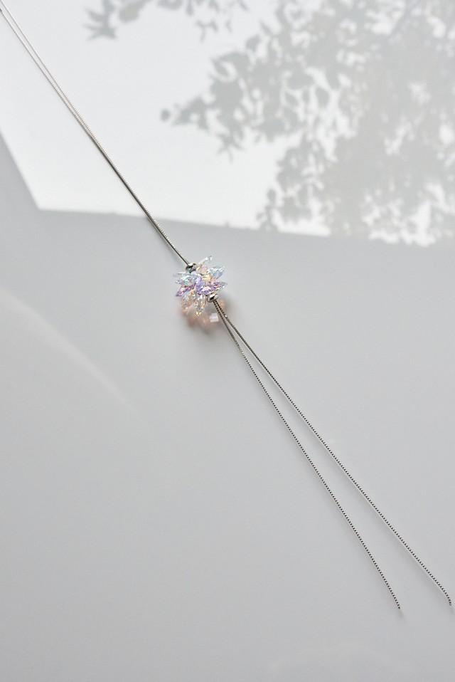 【ラベンダー】スワロフスキー シャンデリア風サンキャッチャーネックレス