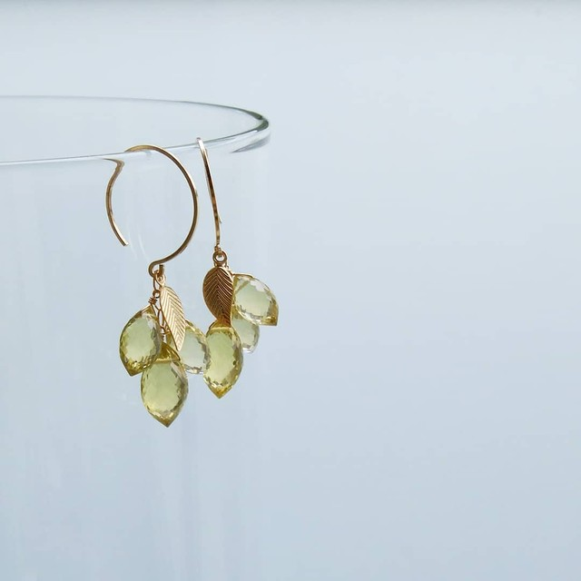 送料無料14kgf*Lemon Quartz pierced earrings / earringss