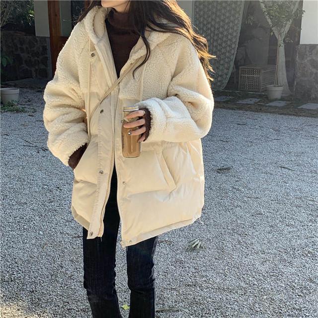 【送料無料】 今季人気デザイン♡ 異素材MIX フード付き ボア ダウン ジャケット ミディ丈 コート アウター