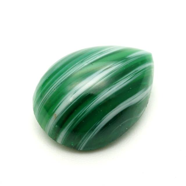ヴィンテージ ティアドロップガラスカボション グリーン×ホワイト チェリーブランド 日本製[B4-02]